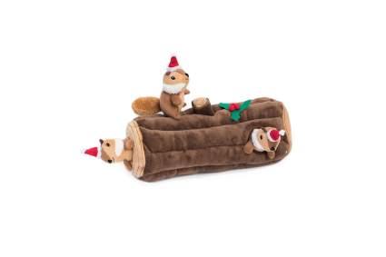 Chipmunk in log dog toy