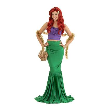 Mermaid with red hair and seaweed boa