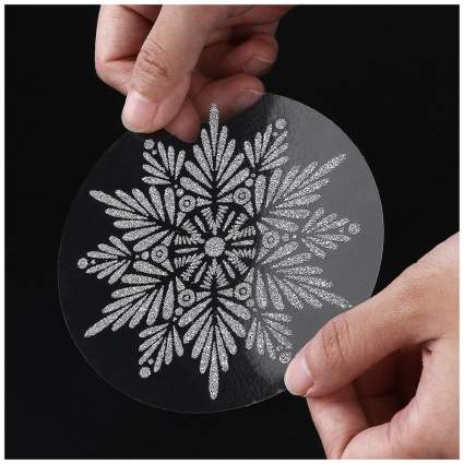 Glittery snowflake window cling