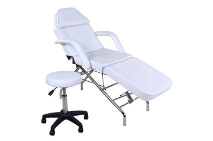 White tattoo chair with stool