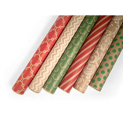 Neutral kraft paper holday gift wrap