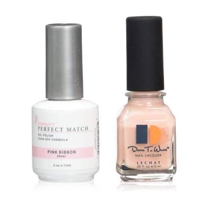Gel and regular nail polish bottles
