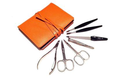 Orange case with manicure tools