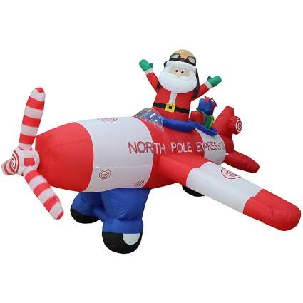 Blow up plane decorations with Santa