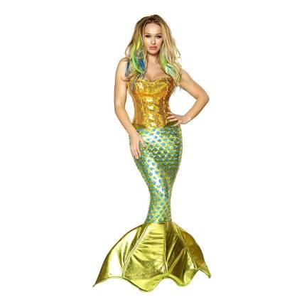 Green and gold mermaid dress
