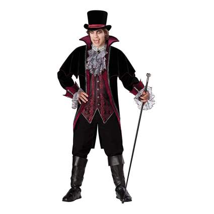 Campy Victorian vampire man with hat