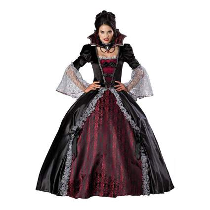 Red and black victorian ball gown
