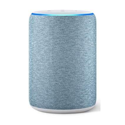 blue smart speaker with Alexa