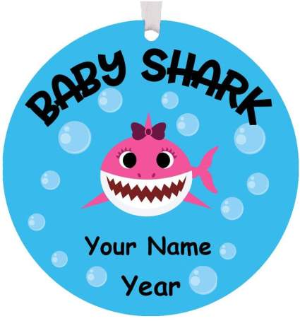 baby shark personalized christmas ornament