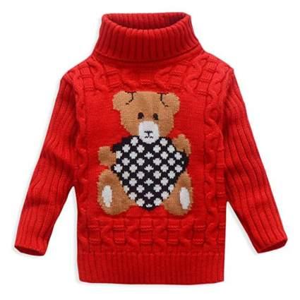 VIFUUR Kids Bear Turtleneck Knit Christmas Sweater