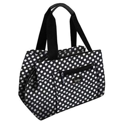 black and white insulated lunch bag