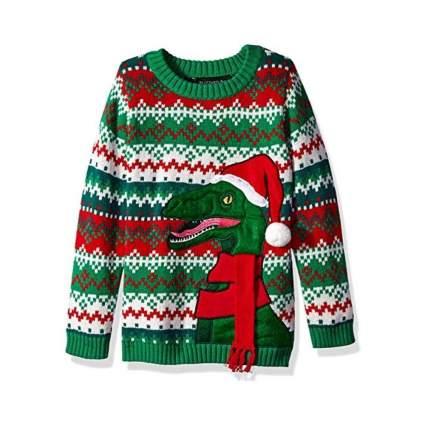 Blizzard Bay Boys' Ugly Christmas Raptor with Santa Hat Sweater