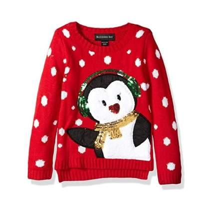 Blizzard Bay Girls' Earmuff Penguin Sweater