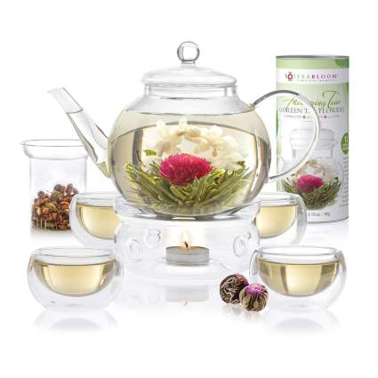 blooming tea set for four
