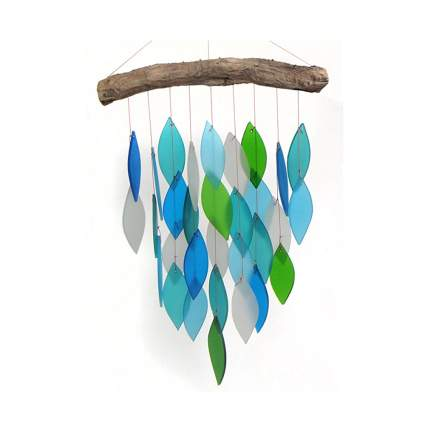 sea glass and drift wood wind chime