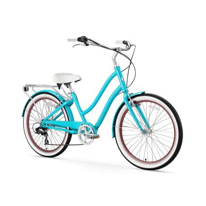 blue step through cruiser bicycle