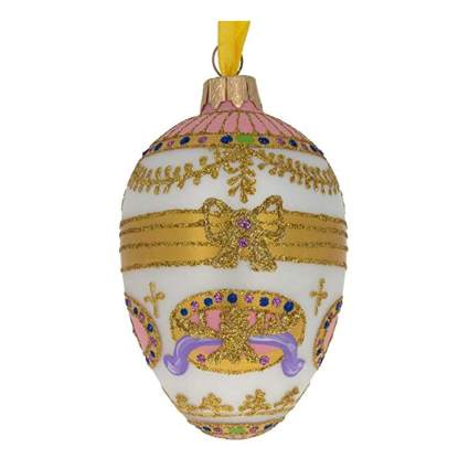 faberge style glass egg ornament