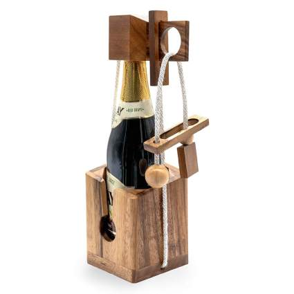 Wine bottle in wooden puzzle