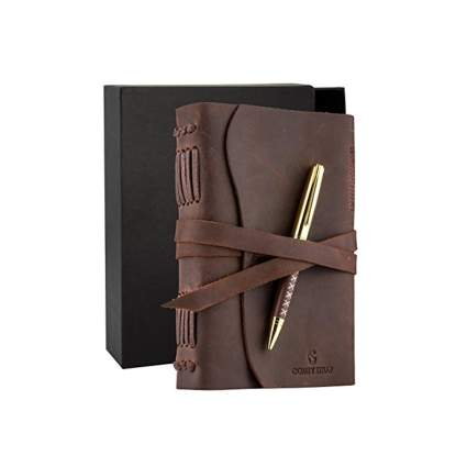 buffalo leather journal and pen