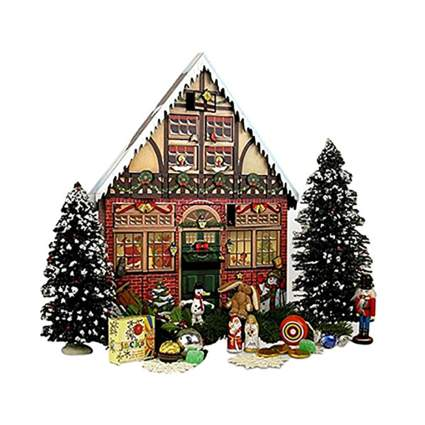 colorful christmas house wooden advent calendar