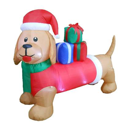 Christmas dog with presents decoration