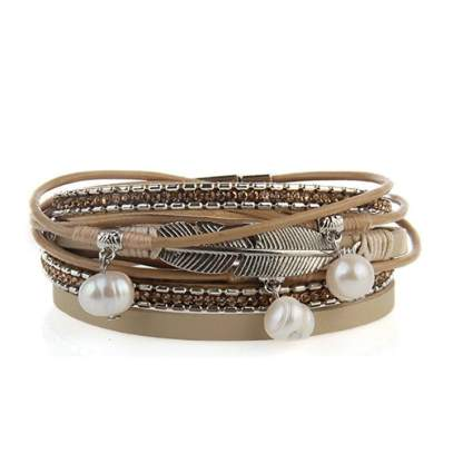casual bracelet leather feathers pearls