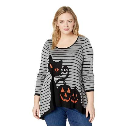 black cat and pumpkin ugly halloween sweater