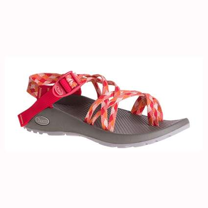 red patterned chaco hiking sandals
