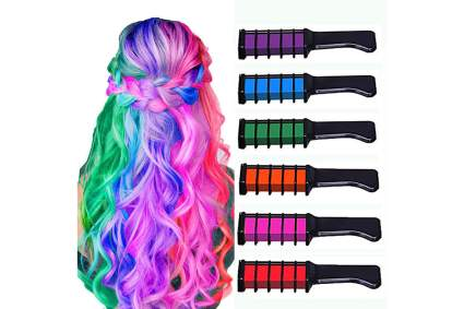 Rainbow colored chalk dye combs for hair