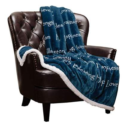 blue and white inspirational throw blanket