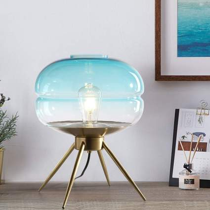 CHENTAOCS Blue Glass Tabe Lamp