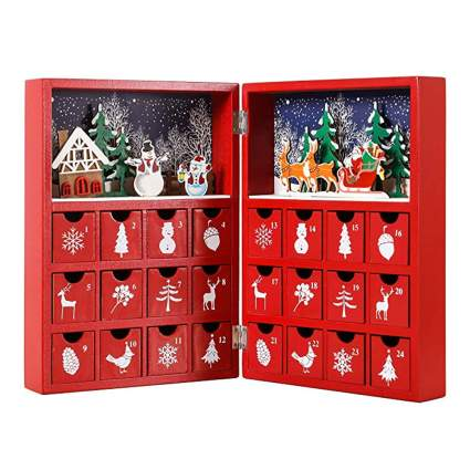 christmas book wooden advent calendar