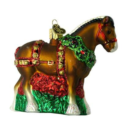 christmas clydesdale blown glass ornament