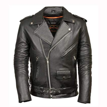 black leather men's biker jacket