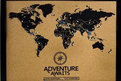 cork board travel map