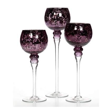 purple crackle glass tea light goblets