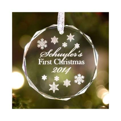 crystal personalized christmas ornament