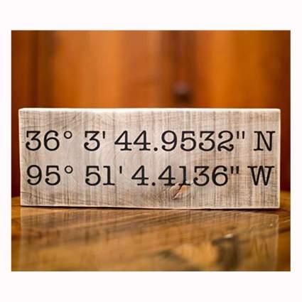 wood latitude longitude sign