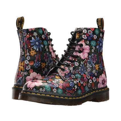 Dr. Martens flowered black boots.