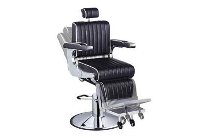 Black reclinging barbershop chair