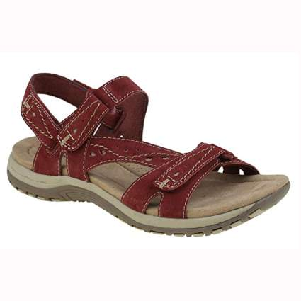 red leather women's hiking sandals