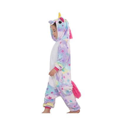 star pattern fleece unicorn onesie