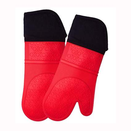 red extra long professional silicone oven mits