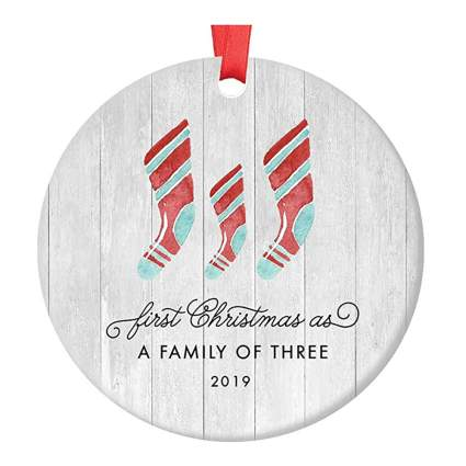 first christmas family of three ornament