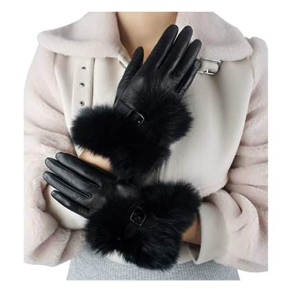 black leather gloves with fox fur trim