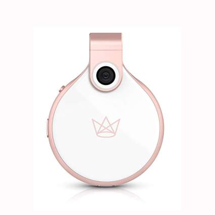 white and rose gold wearable camera