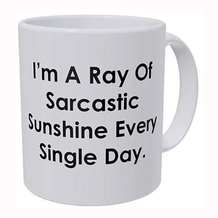 sarcastic white ceramic mug