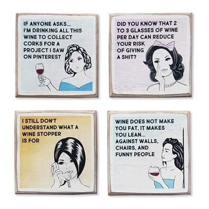 funny wine coaster set