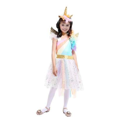 girls rainbow unicorn costume with wings and headband