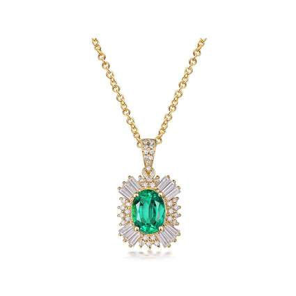 yellow gold emerald and diamond pendant